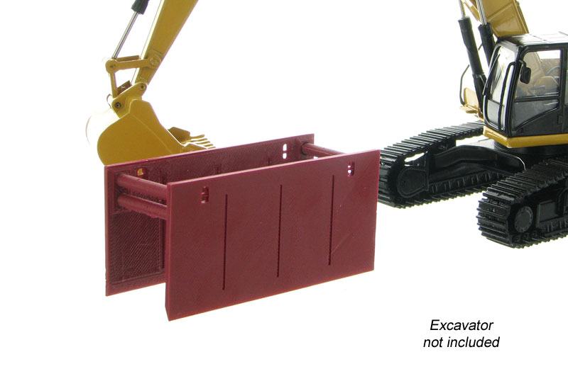 50-165-BR - 3d To Scale Trench Box _ Guard Burgandy ABS
