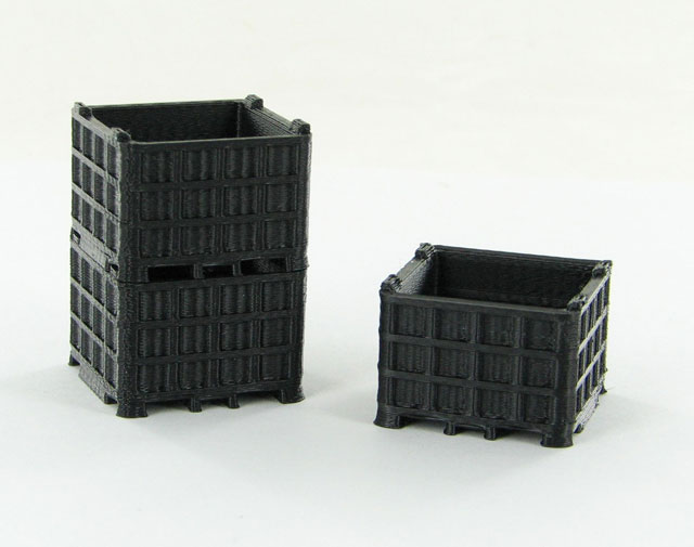 50-252-BK - 3d To Scale Plastic Bin Pallet Black 3 Pack ABS
