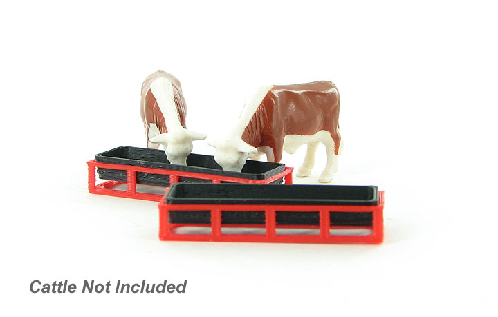 64-302-R - 3d To Scale Livestock Feed Trough 2 pack red_black ABS