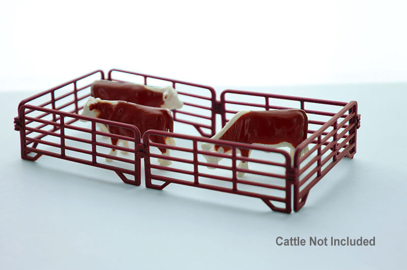 64-318-R - 3d To Scale Corral Panels 12 ft Red set of