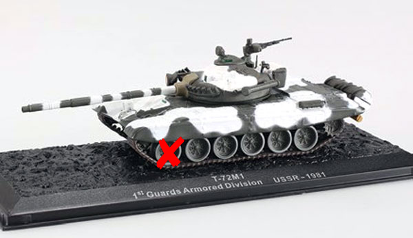 0020-X - Altaya T 72M1 Tank A WHEEL IS BROKEN