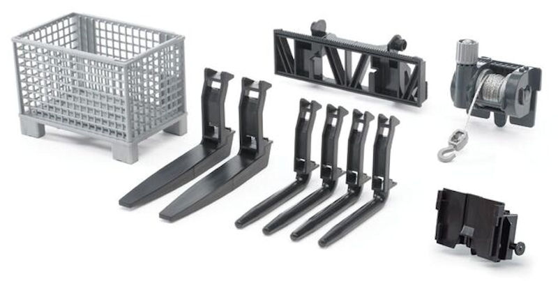 02318 - Bruder Forks Basket and Winch Accessories suitable