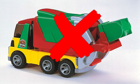 20002-X - Bruder Toys Roadmax Garbage Truck REAR OF MODEL IS