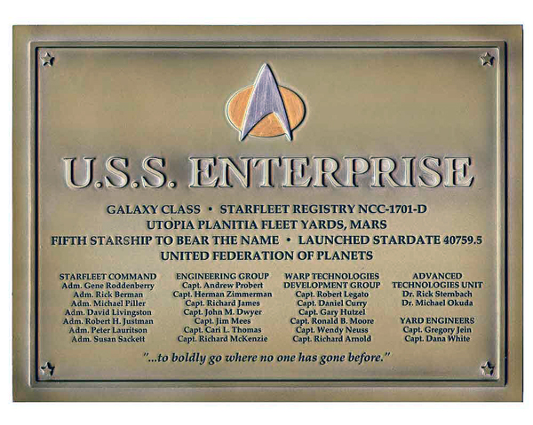 STPLAQUE1 - Eaglemoss Star Trek USS Enterprise NCC 1701