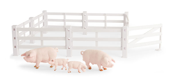 37805A-A - ERTL Toys Pigs and Fence Playset Big Farm