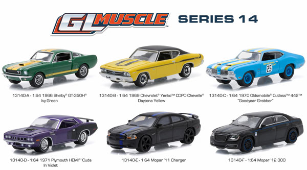 13140-CASE - Greenlight Diecast GL Muscle Series 14 Six Piece SET