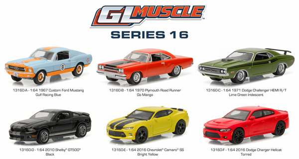 13160-CASE - Greenlight GL Muscle Series 16 Six Piece