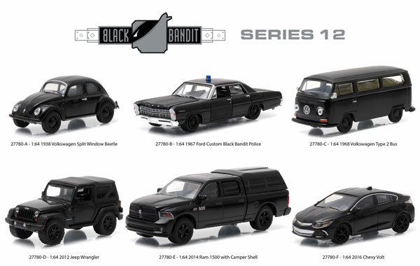27780-CASE - Greenlight Black Bandit Series 12 Six Piece