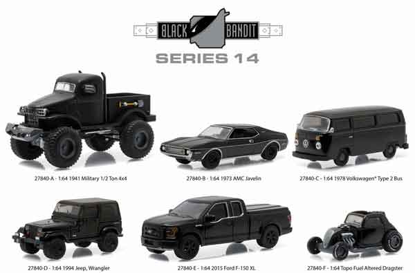 27840-CASE-X - Greenlight Black Bandit Series 14 Six Piece