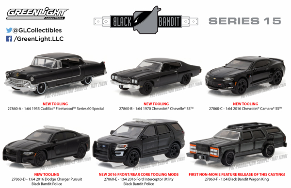 27860-CASE - Greenlight Black Bandit Series 15 Six Piece