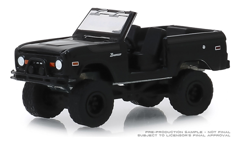 27990-B - Greenlight Diecast 1969 Ford Bronco Doors Removed Black Bandit