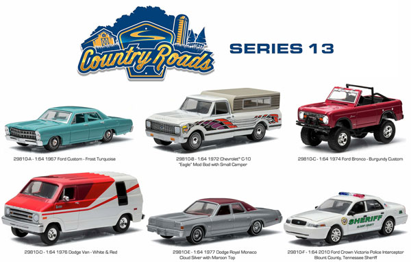 29810-CASE - Greenlight Diecast Country Roads Series 13 6 Piece Set