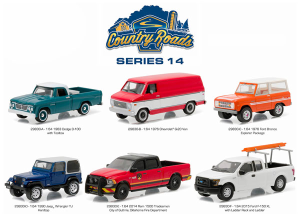 29830-CASE - Greenlight Country Roads Series 14 6 Piece