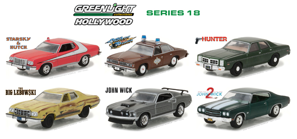 44780-CASE - Greenlight Diecast Hollywood Series 18 Six Piece SET