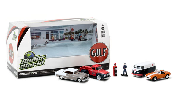58035 - Greenlight Diecast Motor World Diorama Set Gulf Oil Vintage