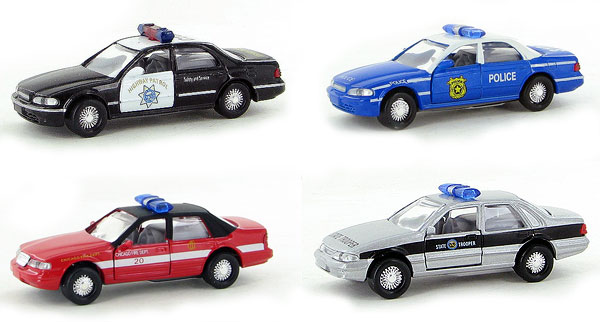18203-SET - Metallic Team Ford Crown Victoria Four Piece Police