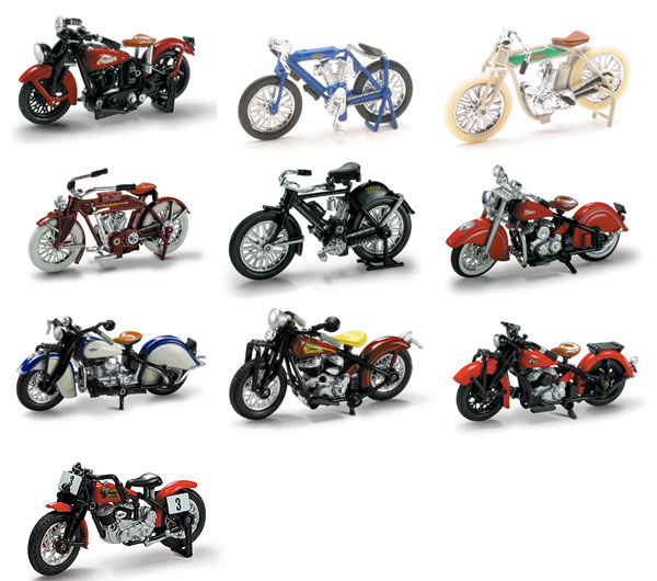 06067-CASE - New-ray Lil Indian Historical Bikes 24 Piece