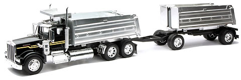 11943A - New-ray Kenworth W900 Twin Dump Truck COLOR