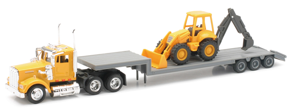 15303 - New-ray Kenworth W900 Truck Hauling a Backhoe