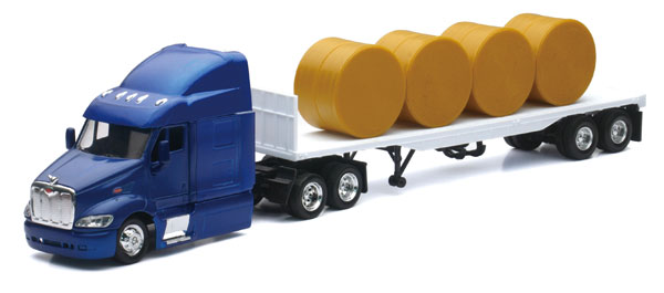 15433 - New-ray Peterbilt with Flatbed Trailer Hauling Round