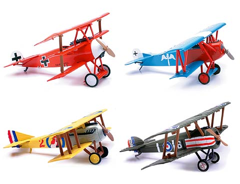 20227-SET - New-Ray Toys Classic Bi plane Model Kits Each 4