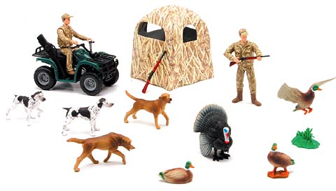 76335B - New-ray Hunting Playset ATV 2 Hunters Dogs