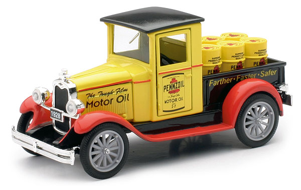 SS-55003A - New-ray 1928 Chevy Pennzoil Pickup Truck hauling
