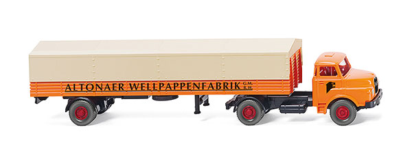 051403 - Wiking Altonaer Wellpappenfabrik MAN Flatbed Truck