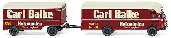 054002 - Wiking Carl Balke Furniture Truck and Trailer