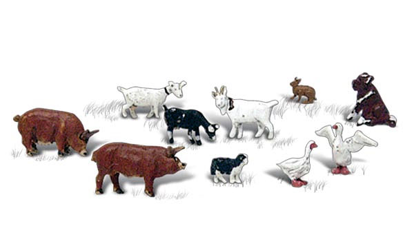 A2202 - Woodland Scenics Barnyard Animals 10 Piece Set N