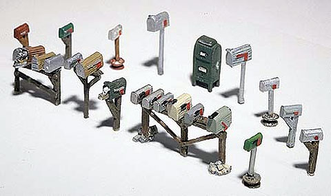 D206 - Woodland Scenics Scenic Details Assorted Mailboxes HO Scale