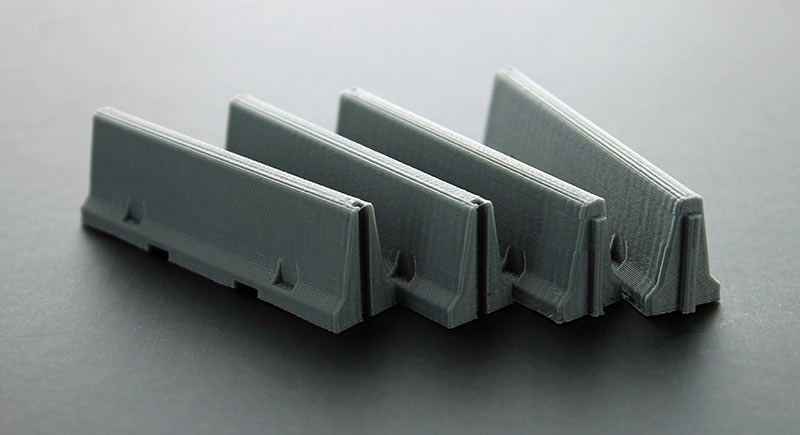 50-100-GY - 3d To Scale Traffic _ Jersey Barriers 4 pack interlocking