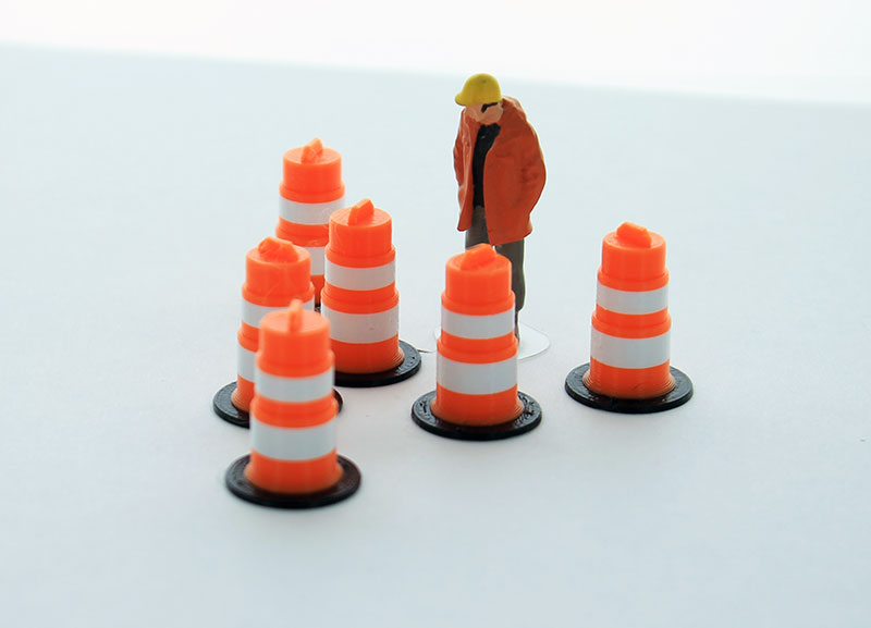 50-105-OR - 3d To Scale Traffic Barrels 6 pack orange and white