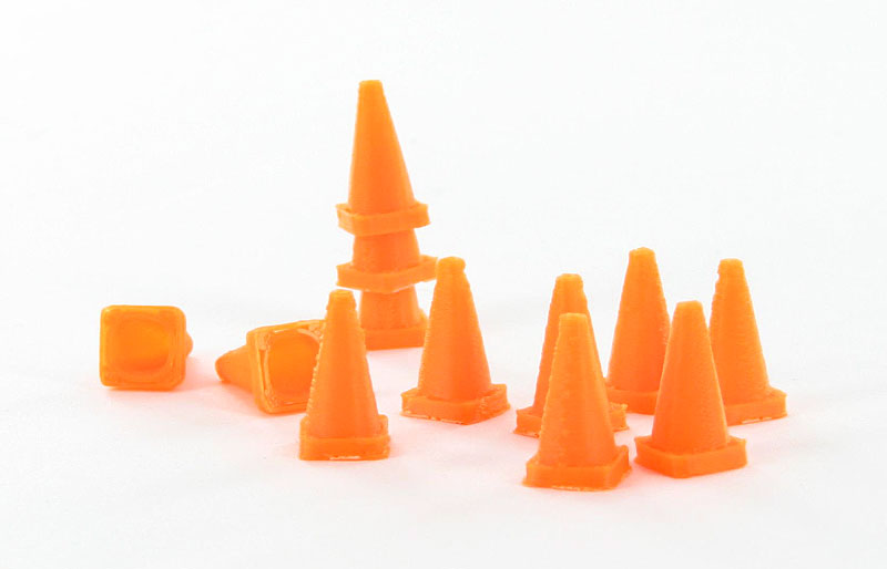 50-110-OR - 3d To Scale Traffic Cones 18 pack safety orange ABS