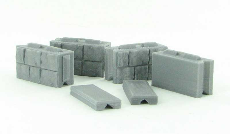 50-130-GY - 3d To Scale Precast Wall Block set 4 blocks_2 caps