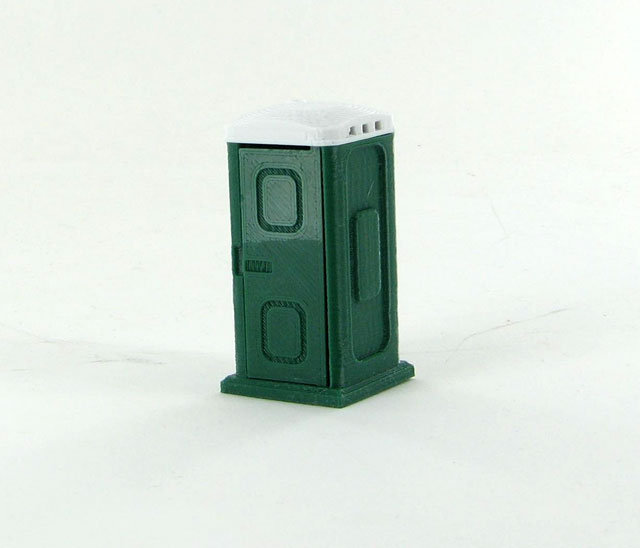 50-141-DG - 3d To Scale Porta Potty dark green and white