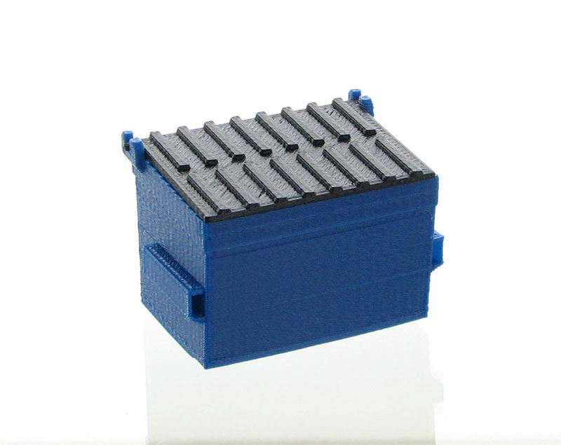 50-230-BL - 3d To Scale Trash Dumpster blue