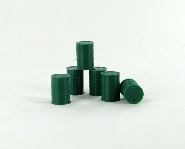 50-240-DG - 3d To Scale Barrels 55 Gallon 6 pack dark green