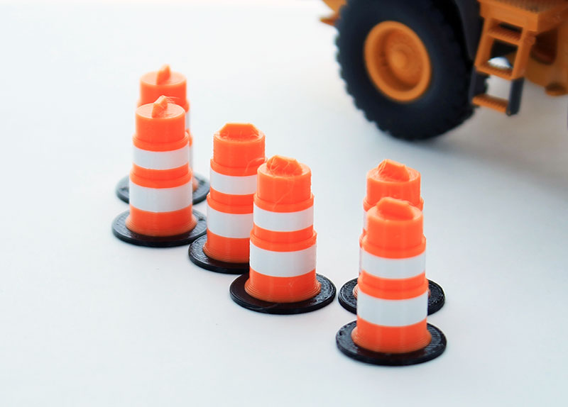 64-105-OR - 3d To Scale Traffic Barrels 6 pack orange and white