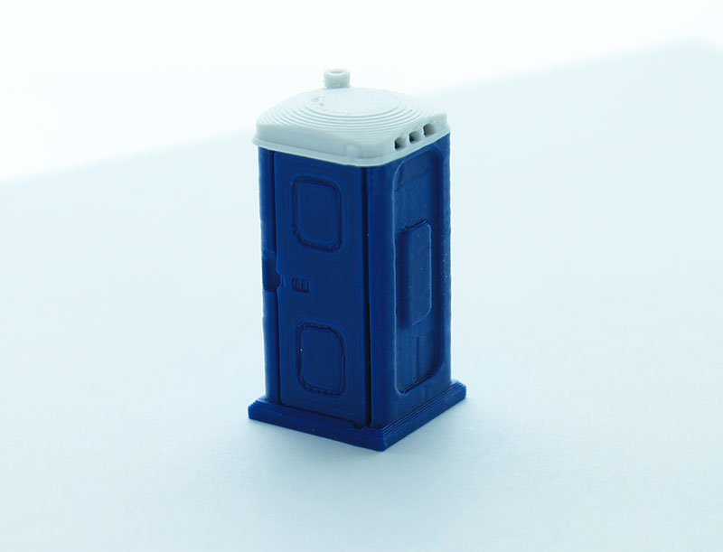 64-141-BL - 3d To Scale Porta Potty blue and white