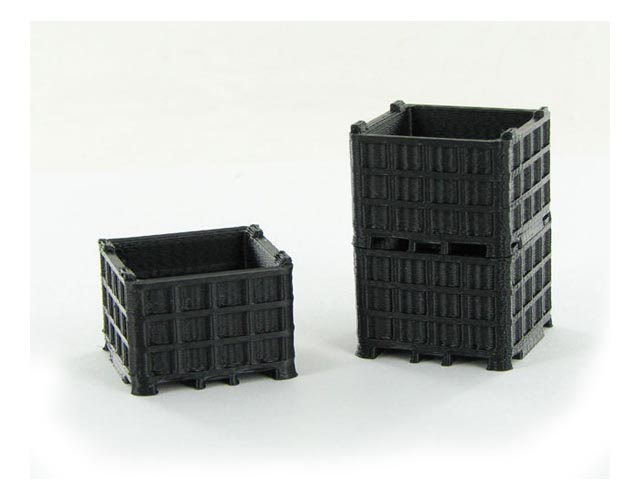 64-252-BK - 3d To Scale Plastic Bin Pallet Black 3 Pack ABS