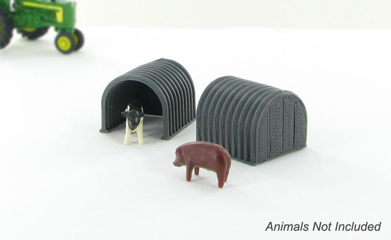 64-330-GY - 3d To Scale Hog _ Calf Shelter grey 2 pack