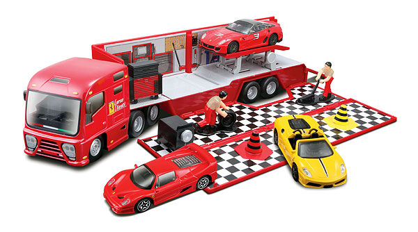 31202 - Bburago Diecast Ferrari Race and Play Hauler Set