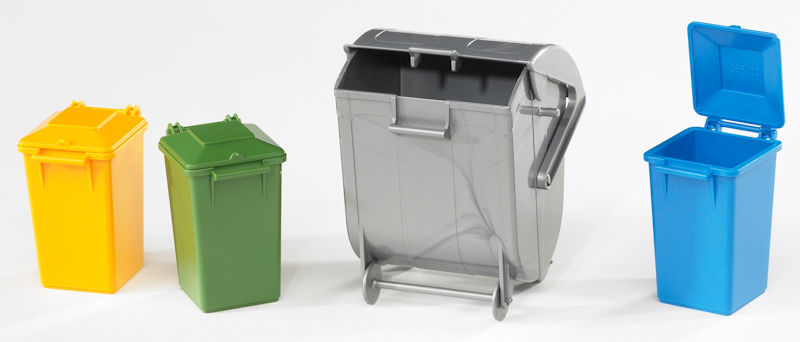 02607 - Bruder Toys Trash Bin Set 3 small and 1