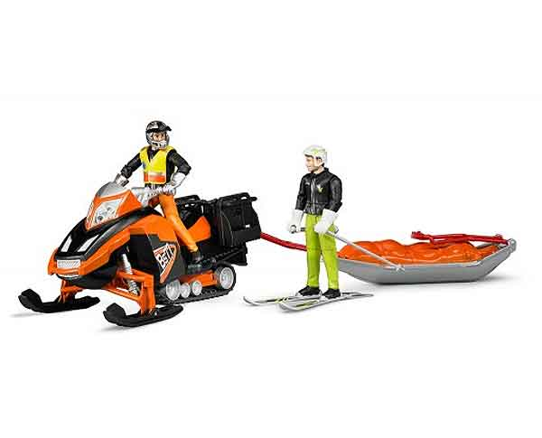 63100 - Bruder Toys Snowmobile with Driver and Rescue Sled Manufactured