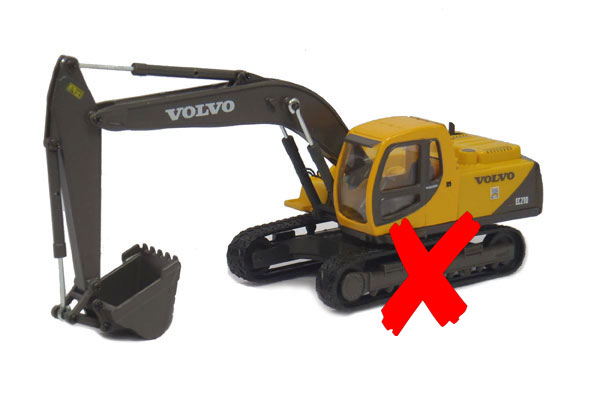 560-003-X - Cararama Volvo EC210 Tracked Excavator TRACKS ARE MISSING