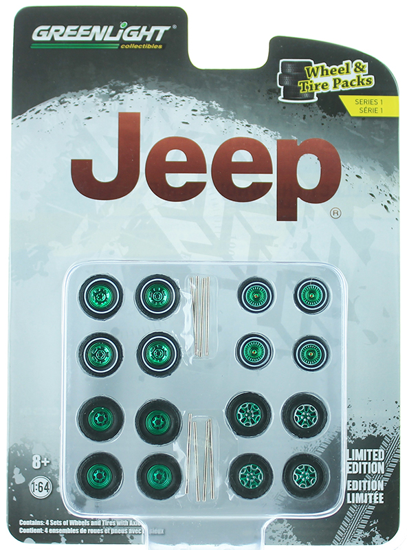 16010-C-SP - Greenlight Diecast Jeep Wheel Tire Pack 16 Wheels