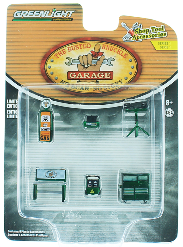 GREENLIGHT 16020B SCALA 1//64 ACCESSORIES SET OFFICINA GARAGE THE BUSTED KNUCKLE