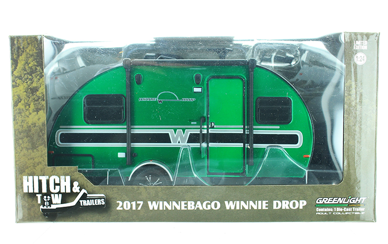 18450-B-SP - Greenlight Diecast 2017 Winnebago Winnie Drop Trailer SPECIAL GREEN