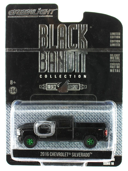 27930-E-SP - Greenlight Diecast 2016 Chevrolet Silverado Black Bandit Series 18